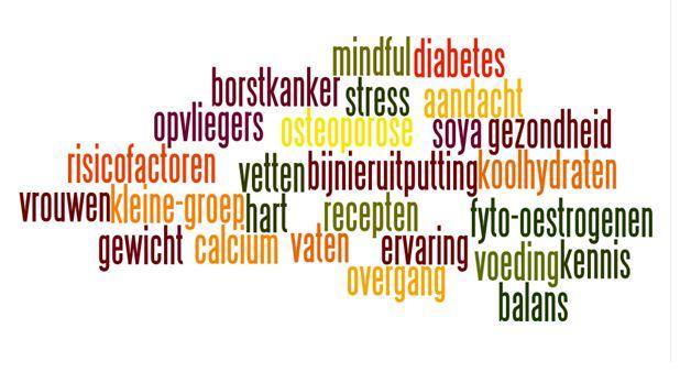 Wordcloud cursus overgang en gewicht als afbeelding Doe je ook mee met de cursus Overgang en Gewicht?
