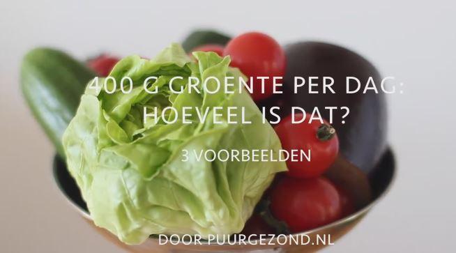 Puur Gezond filmpje groente Niet moeilijk: Zo eet je 400 gram groente op een dag.