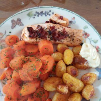 zalm en aardappeltjes uit de oven