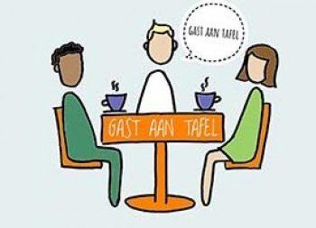 gezonde gast aan tafel
